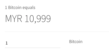 BTC/MYR price on Coinbase
