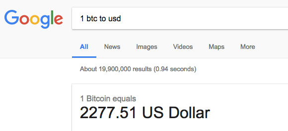 usd price of bitcoin on google
