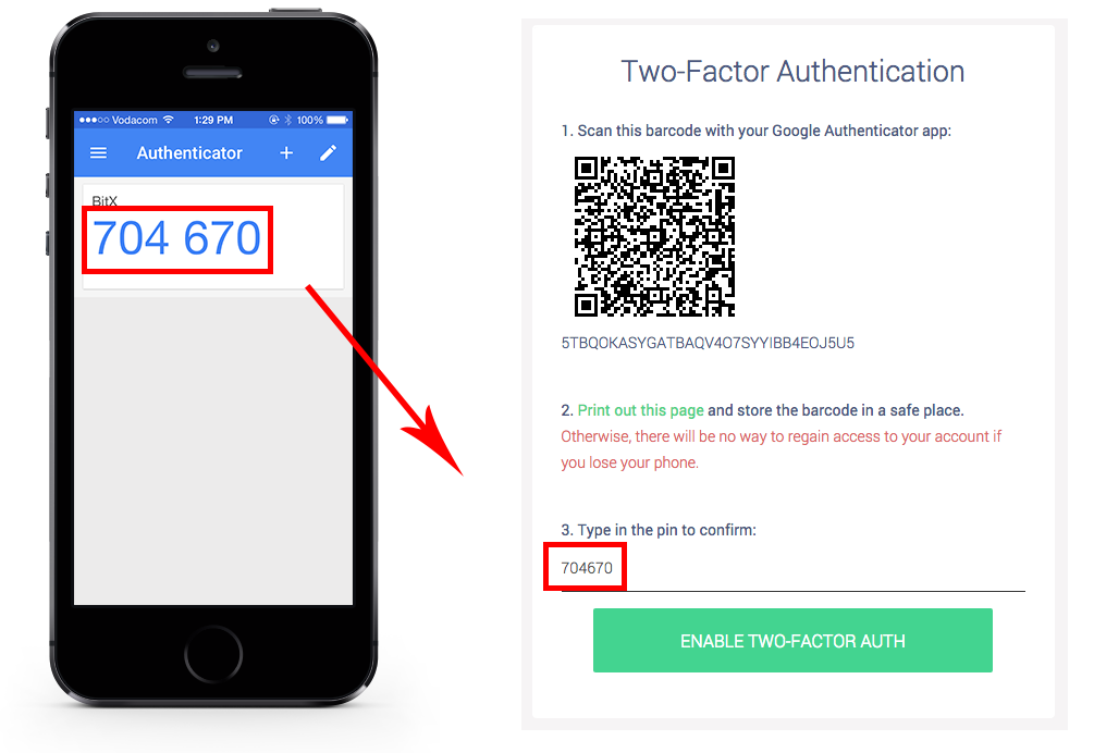 Electrum wallet with two factor authentication