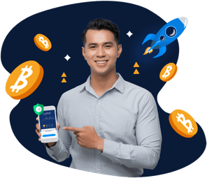 Man pointing to Luno wallet on Luno App