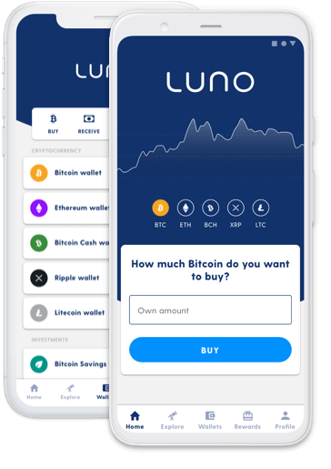 Two phones with Luno app