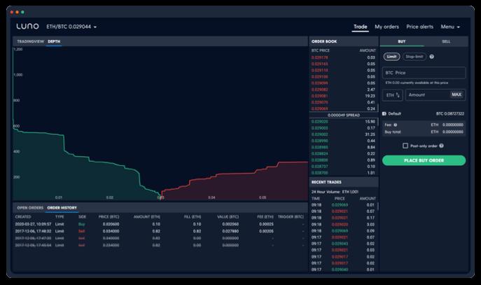 screenshot of Luno exchange speed