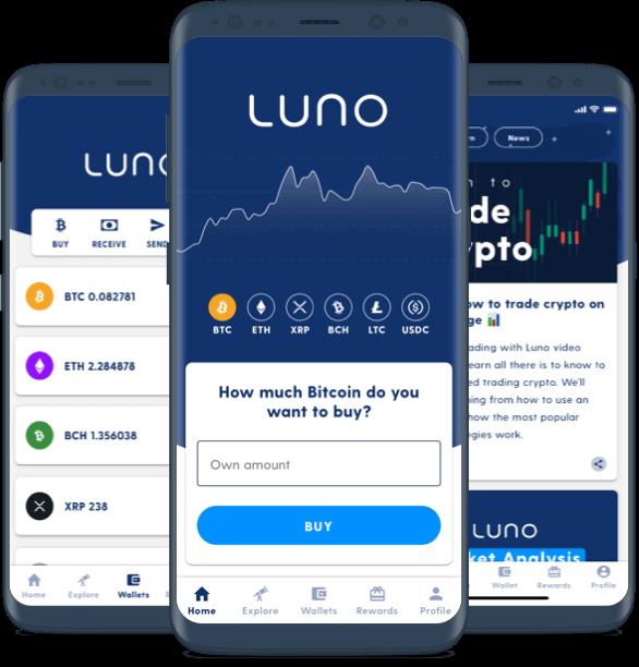 Trois appareils mobiles affichant différents écrans de l'application Luno