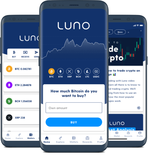 Three mobile devices showing various screens of the Luno app
