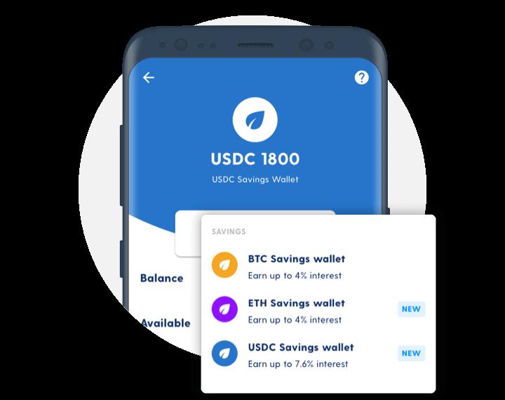 Luno app on mobile showing savings wallet percentage