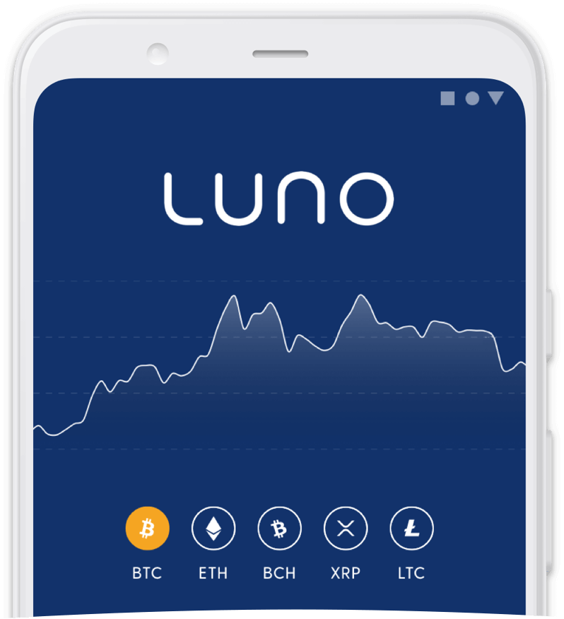 Mobile frame containing the Luno app app wallet screen