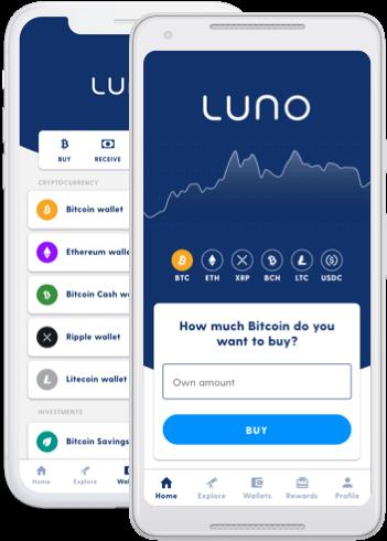Deux appareils mobiles affichant les écrans du wallet de l'application Luno