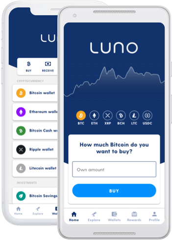 Two mobile devices showing the Luno app wallet screens